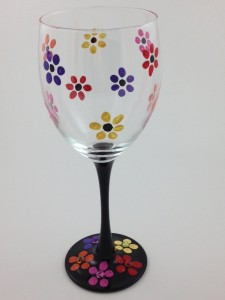 hippie flower wine glass